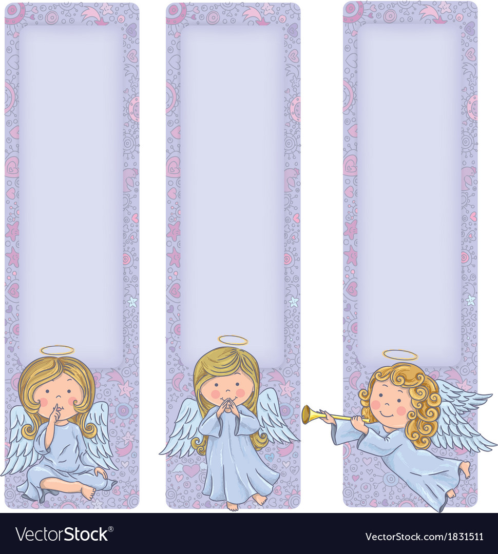 Vertical banner with cute angels vector | Price: 1 Credit (USD $1)