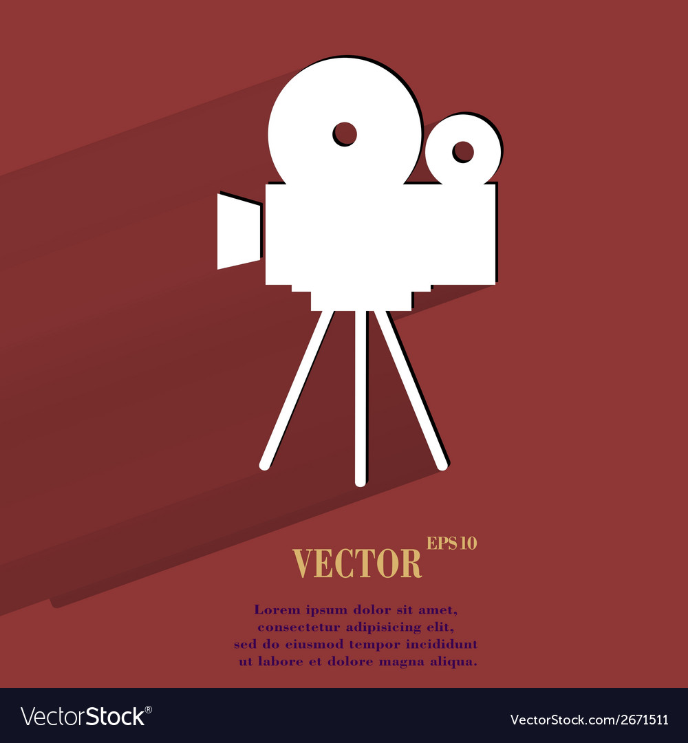 Videocamera flat modern web button with long vector | Price: 1 Credit (USD $1)