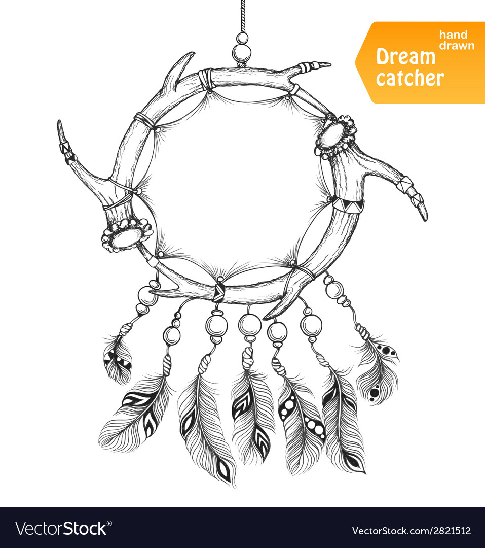 American indian dream catcher with feathers vector | Price: 1 Credit (USD $1)
