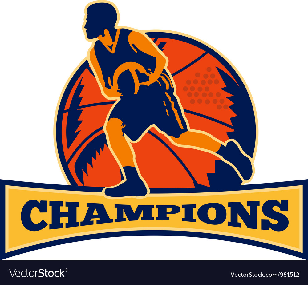 Basketball player dribbling ball champions retro vector | Price: 1 Credit (USD $1)