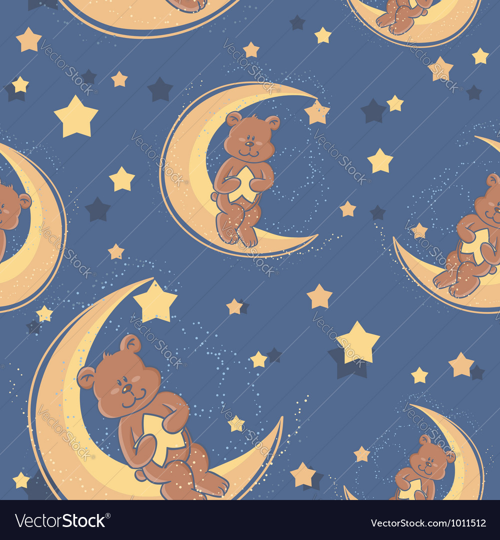 Bear sweet dreams seamless vector | Price: 1 Credit (USD $1)
