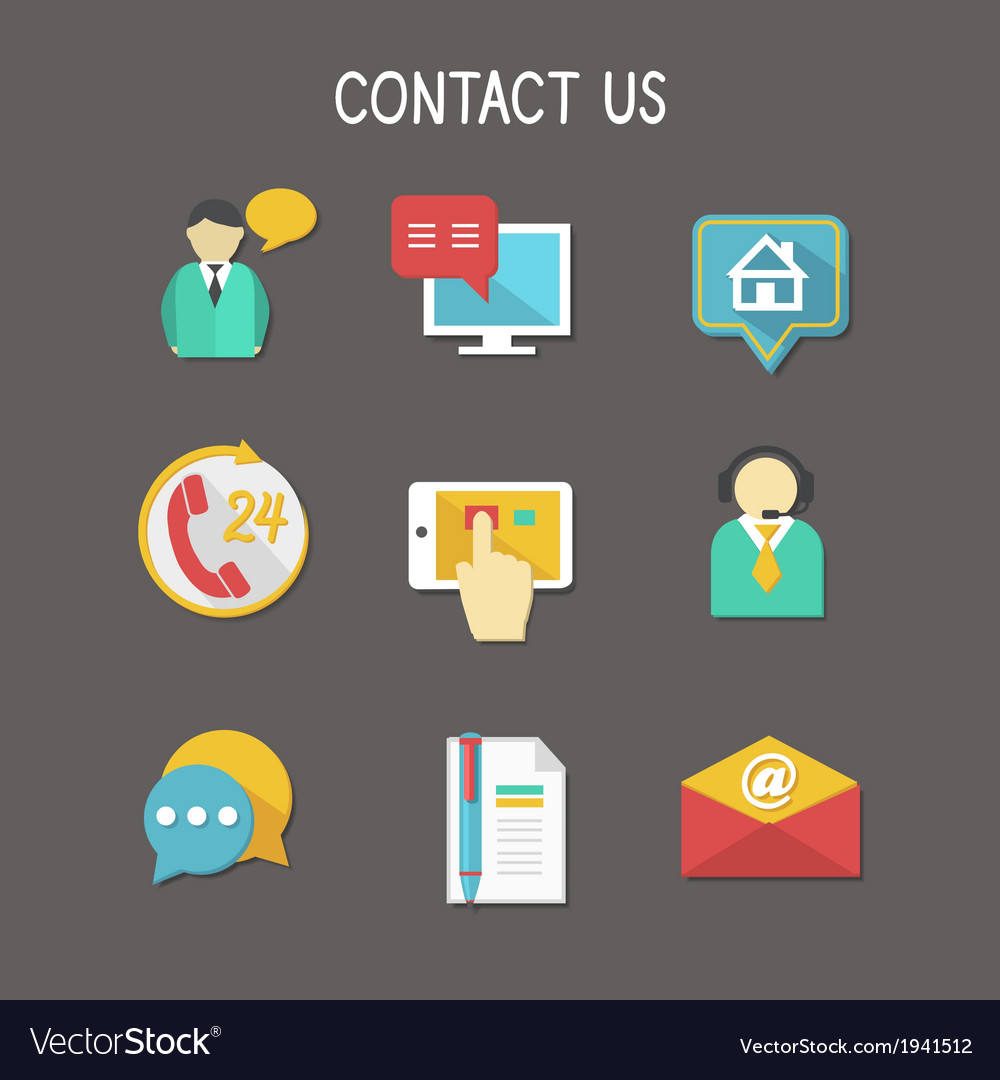 Contact us icons vector | Price: 1 Credit (USD $1)