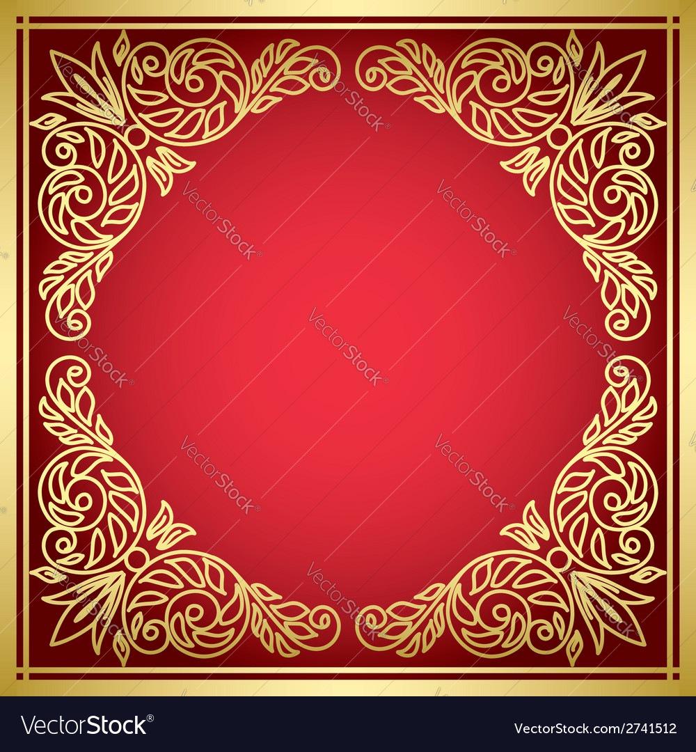 Decorative red card with golden frame vector | Price: 1 Credit (USD $1)