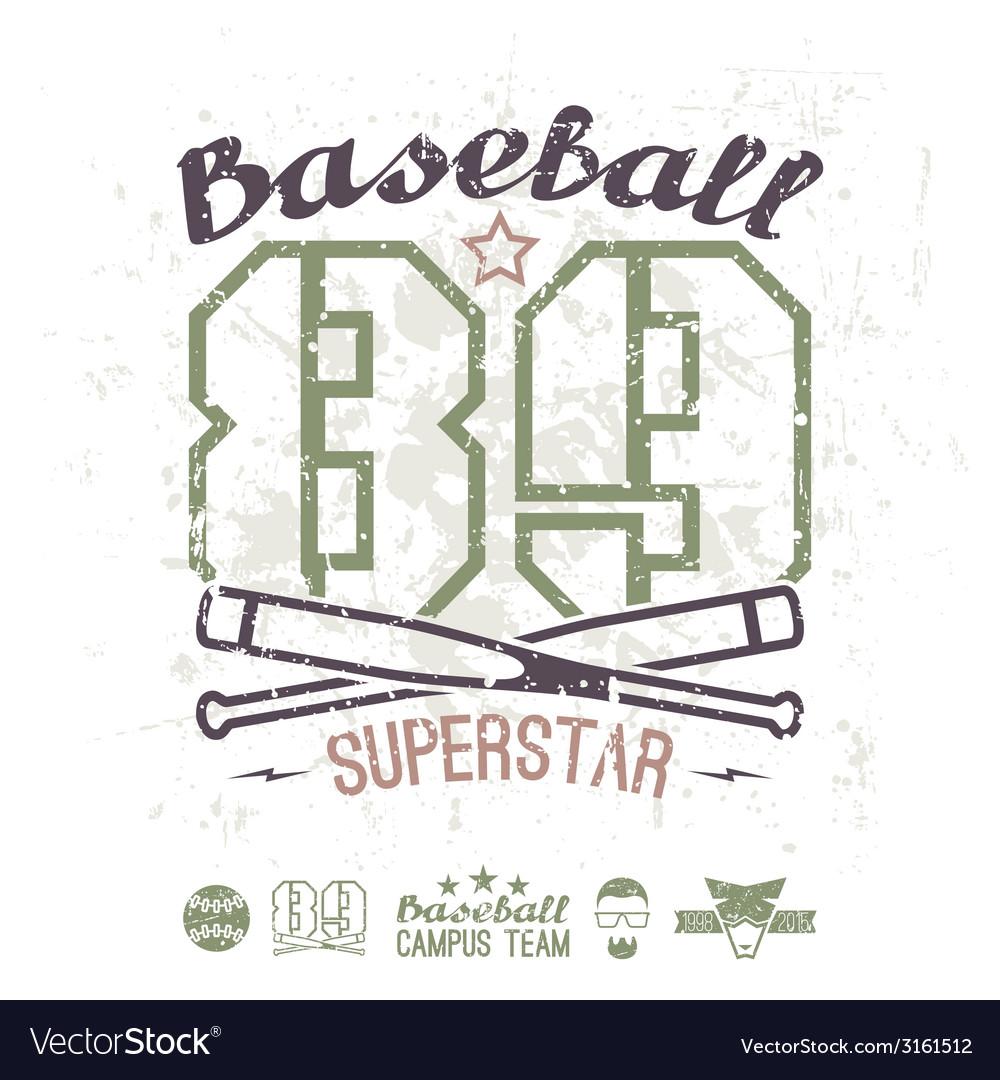 Emblem baseball superstar college team vector | Price: 1 Credit (USD $1)