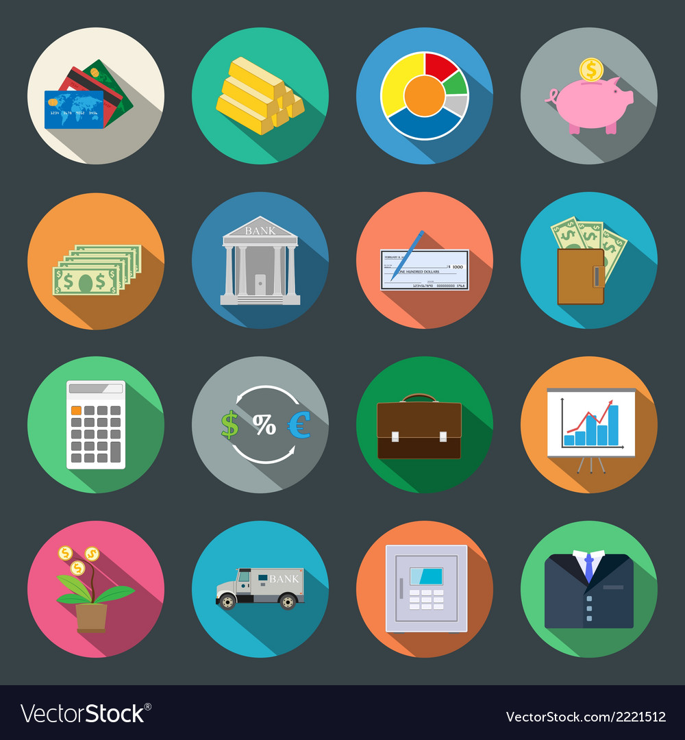 Finance flat icons set vector | Price: 1 Credit (USD $1)