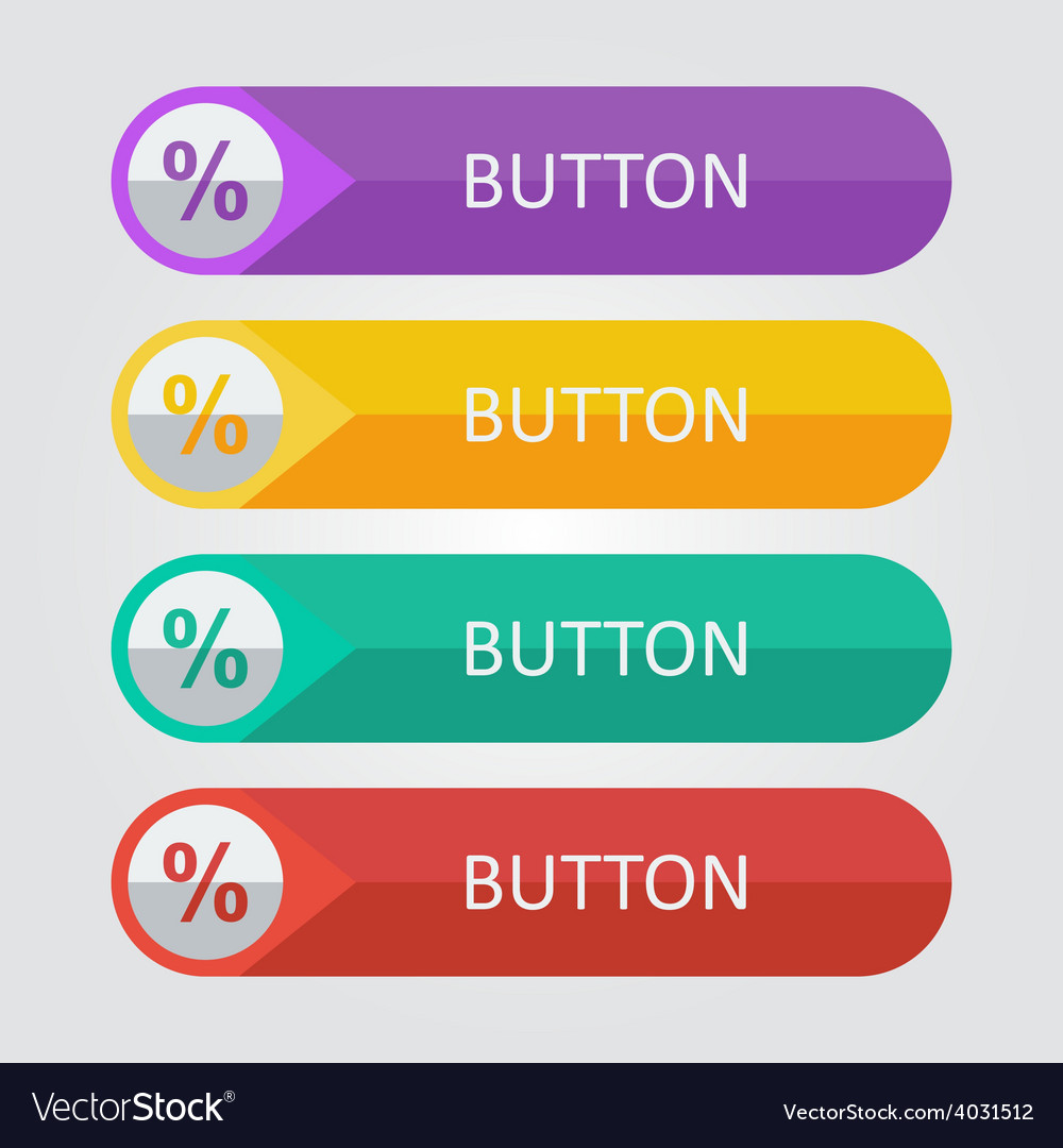 Flat buttons with percentage icon vector | Price: 1 Credit (USD $1)