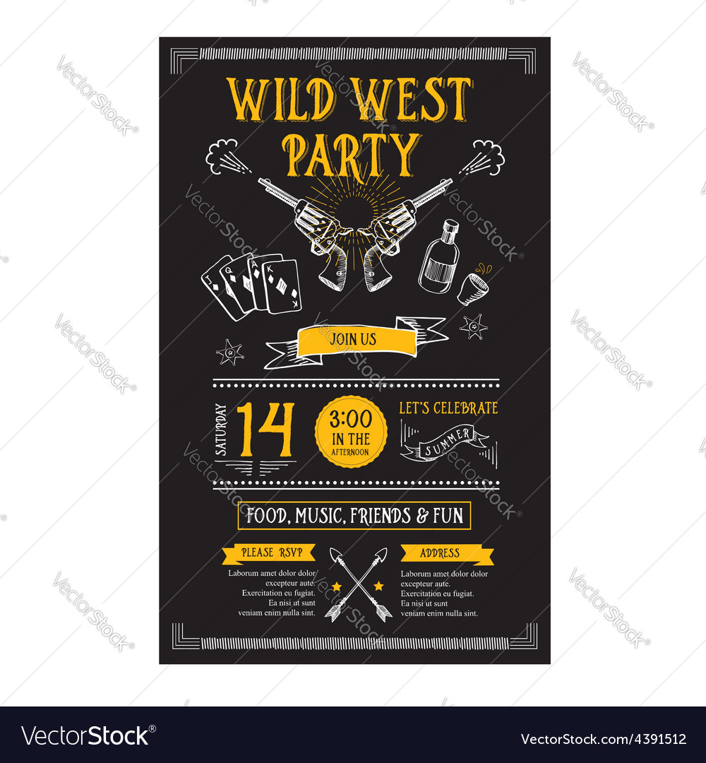 Invitation wild west party flyer typography and vector | Price: 1 Credit (USD $1)