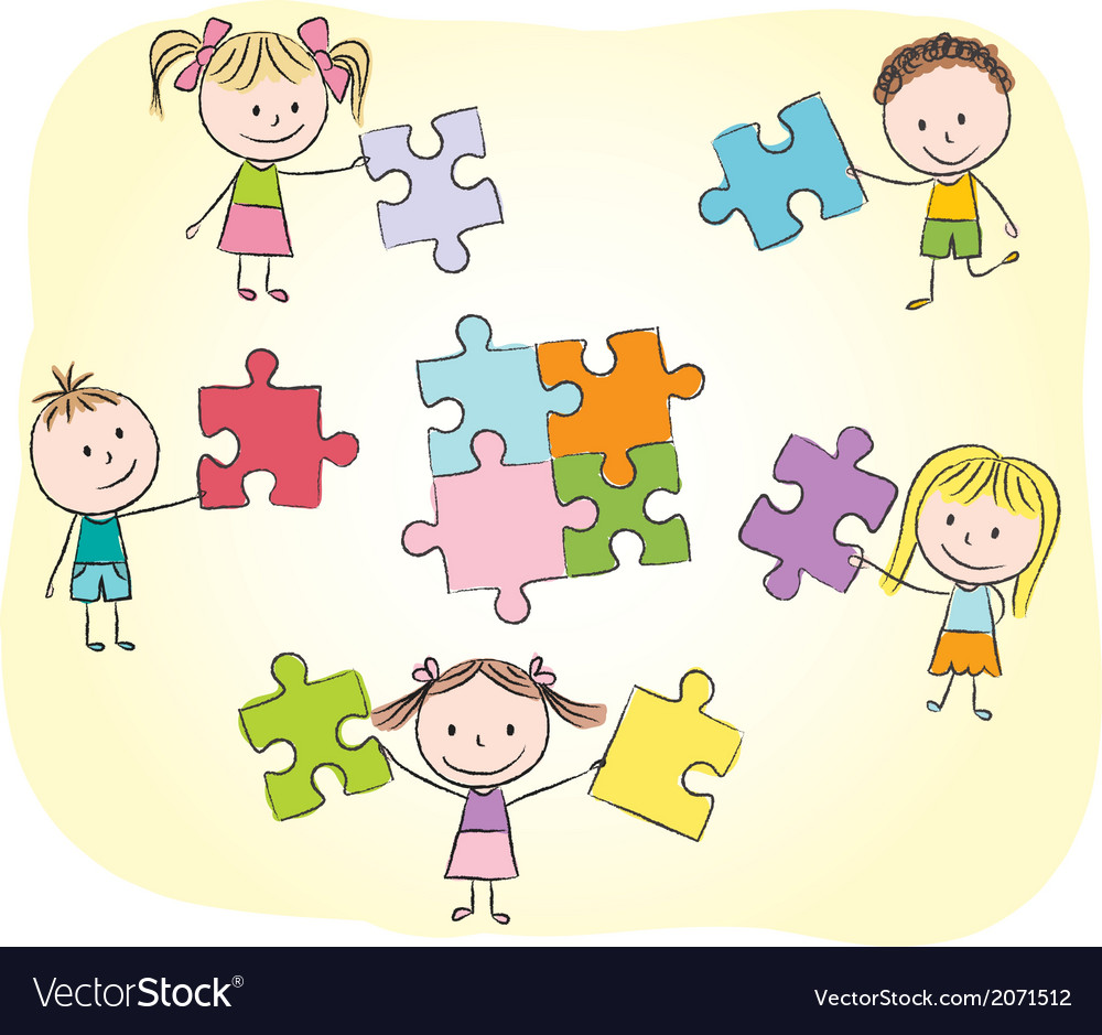 Kids playing with puzzle vector | Price: 1 Credit (USD $1)