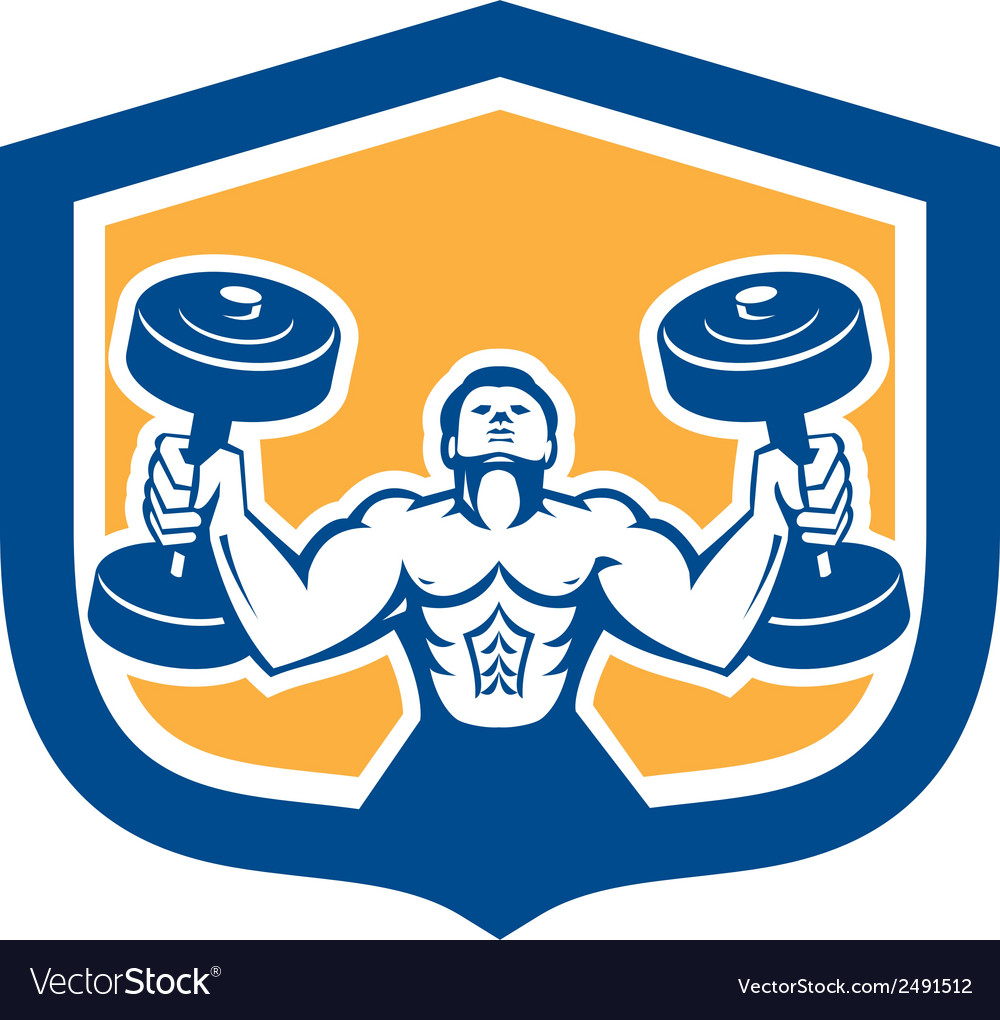 Man lifting dumbbell weight physical fitness retro vector | Price: 1 Credit (USD $1)