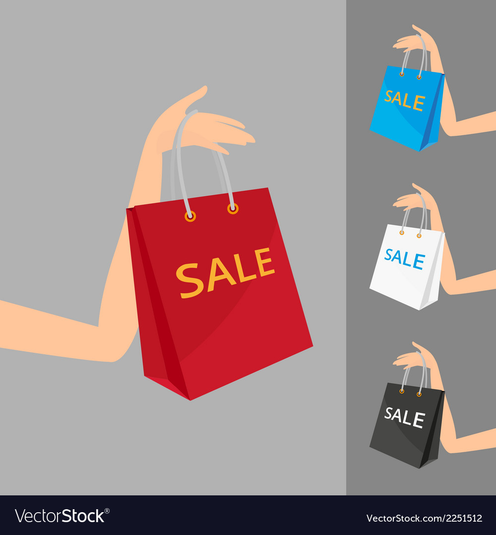 Red shopping bag in womens hand and three vector | Price: 1 Credit (USD $1)