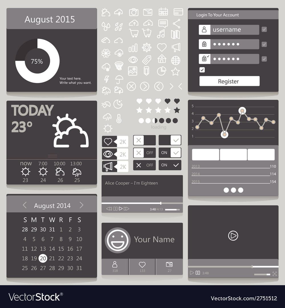 Set elements used for user interface black vector | Price: 1 Credit (USD $1)