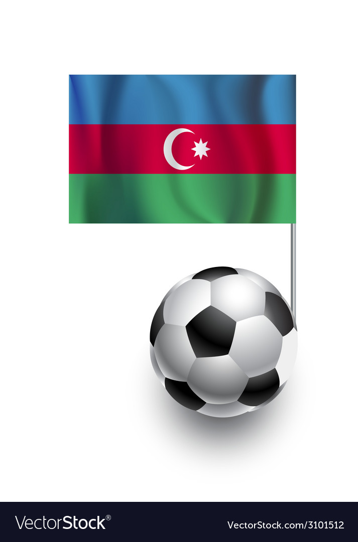 Soccer balls or footballs with flag of azerbaijan vector | Price: 1 Credit (USD $1)