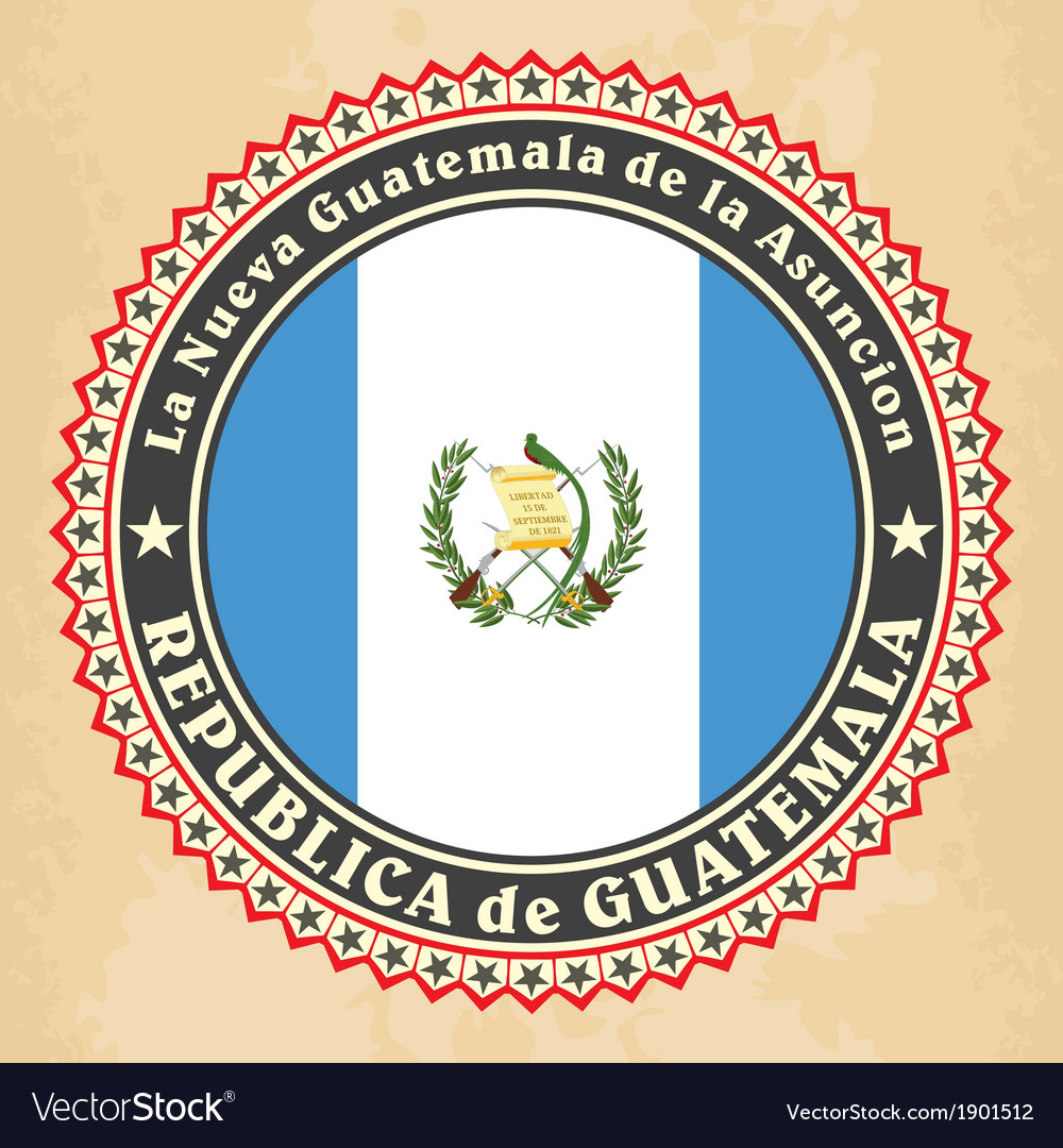 Vintage label cards of guatemala flag vector | Price: 1 Credit (USD $1)
