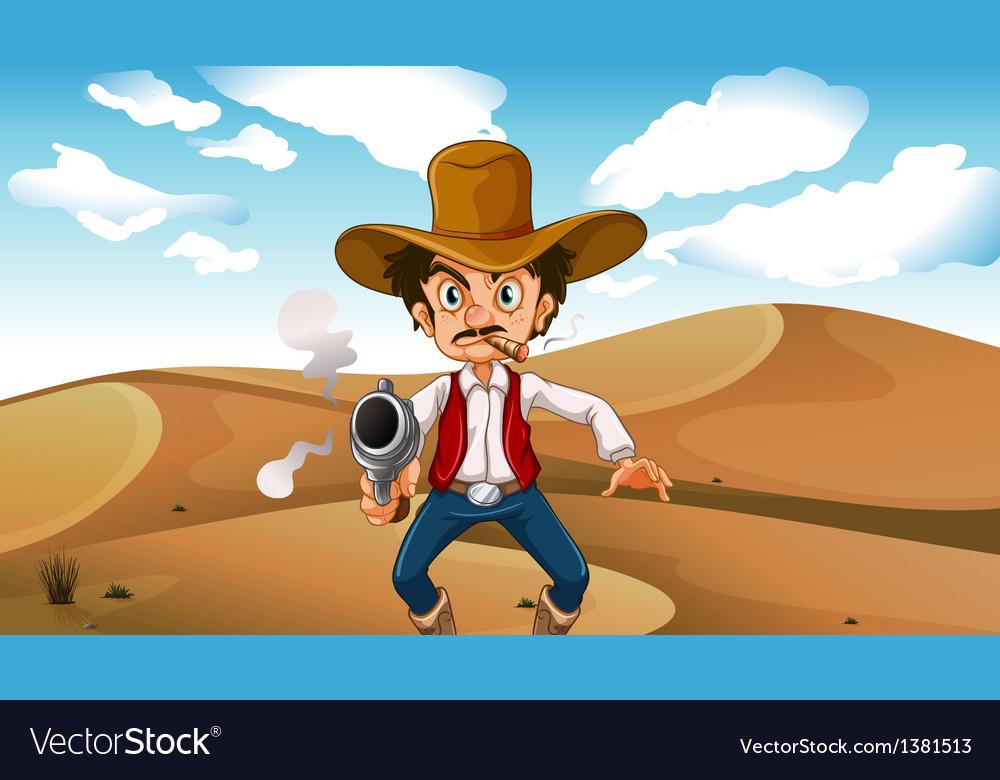 A cowboy smoking with a gun at the desert vector | Price: 1 Credit (USD $1)