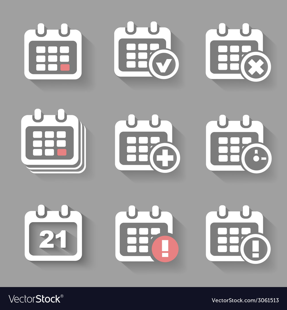Calendar icons- event add delete progress white vector | Price: 1 Credit (USD $1)