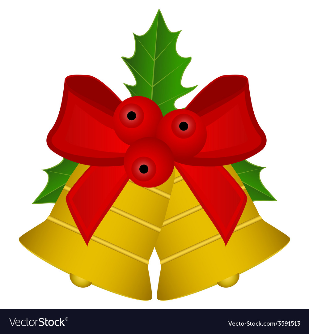 Christmas bells with red bow and holly vector | Price: 1 Credit (USD $1)