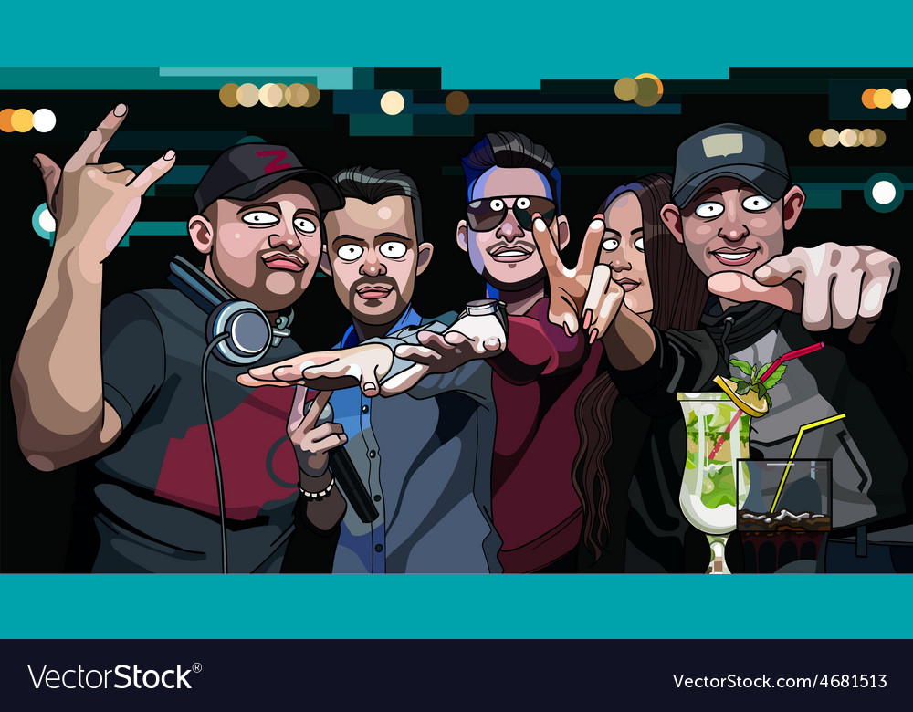 Group of guys and a girl in a nightclub vector | Price: 3 Credit (USD $3)