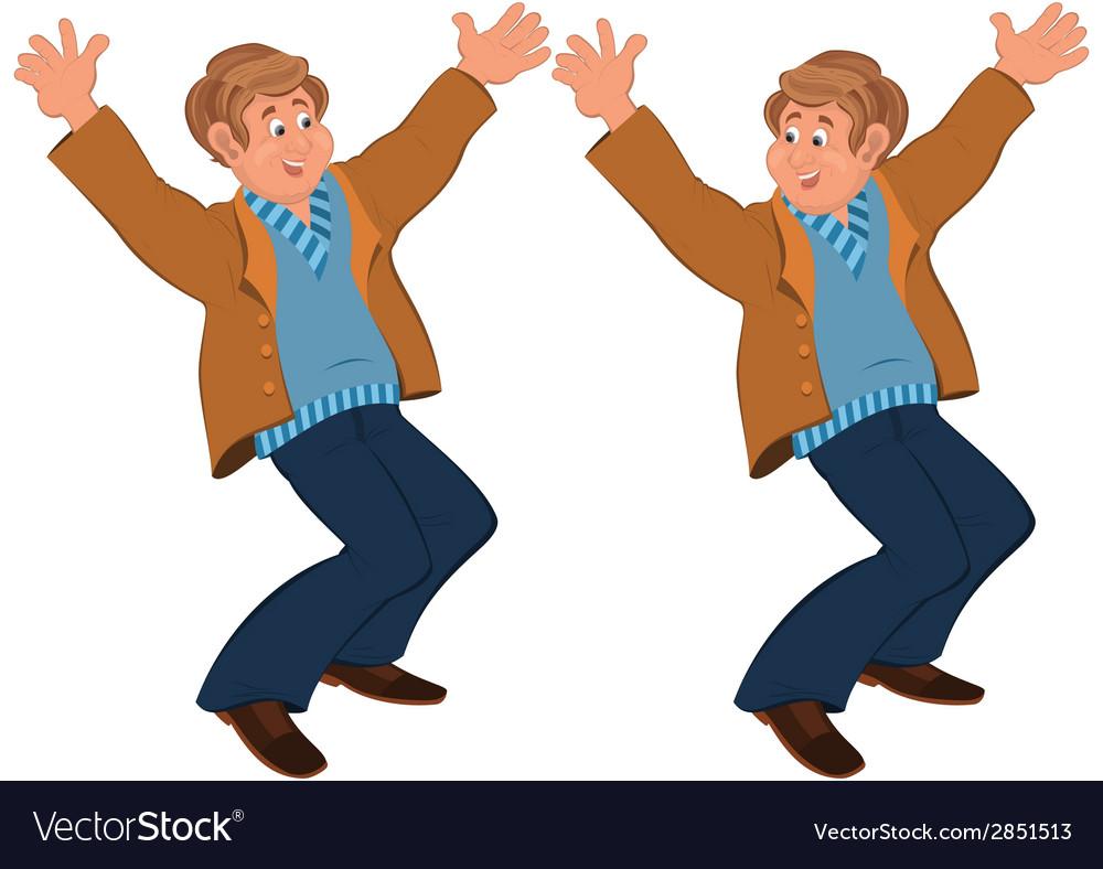 Happy cartoon man standing in brown jacket holding vector | Price: 1 Credit (USD $1)