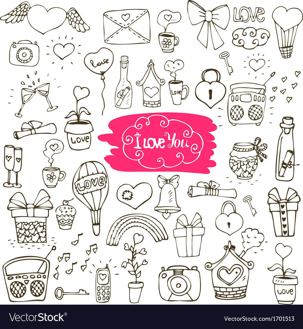 Love doodle icons vector | Price: 1 Credit (USD $1)