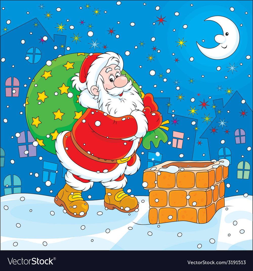 Santa with his bag of gifts vector | Price: 1 Credit (USD $1)
