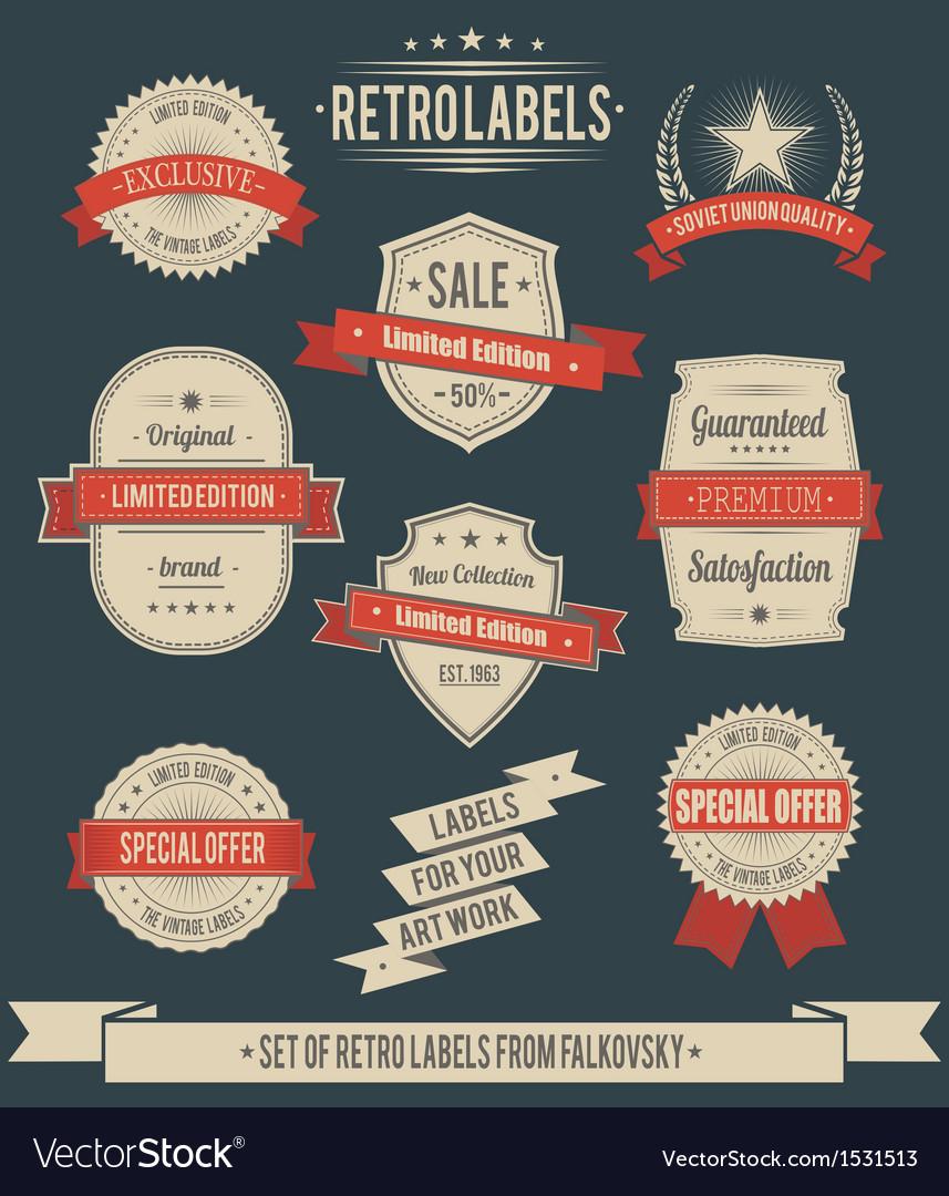 Set of vintage retro labels calligraphic elements vector | Price: 1 Credit (USD $1)