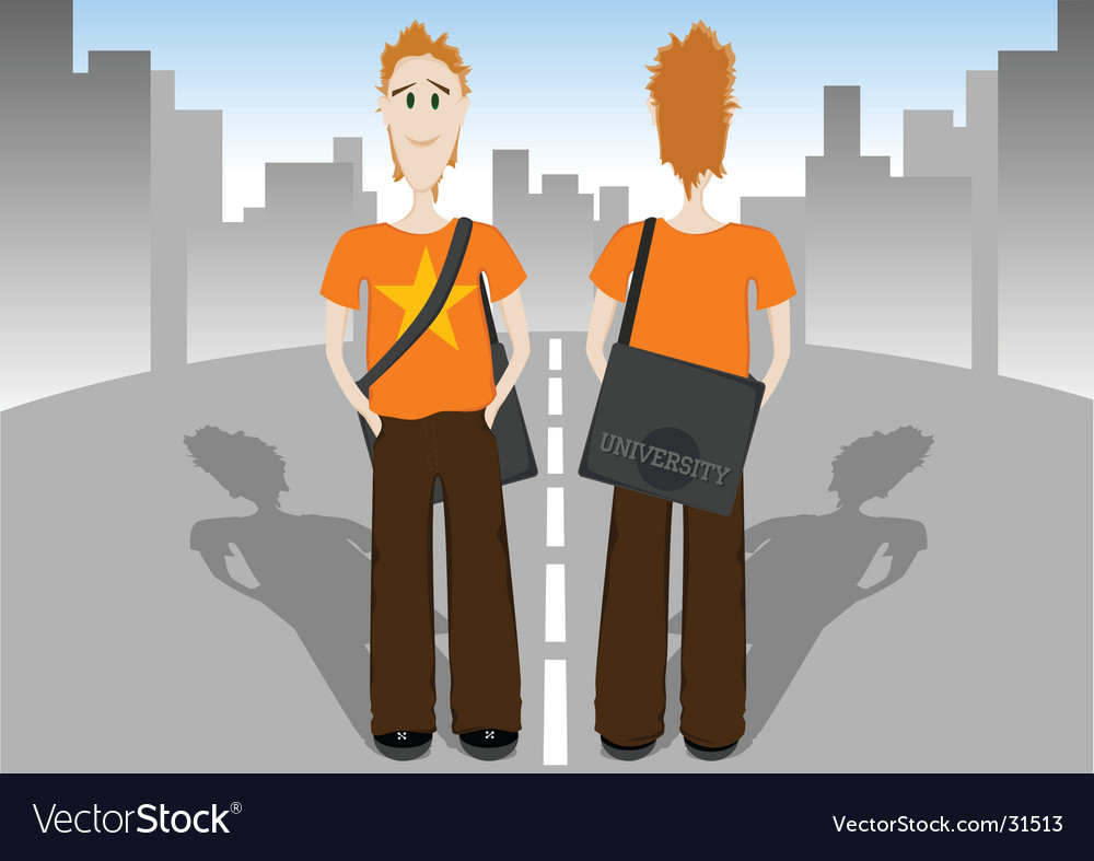 Student with bag vector | Price: 1 Credit (USD $1)