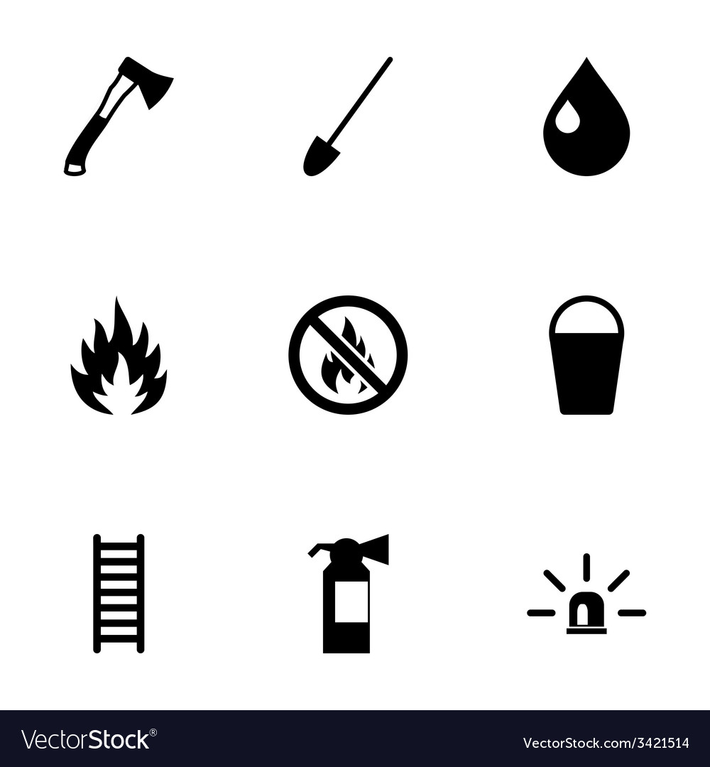 Black firefighter icon set vector | Price: 1 Credit (USD $1)