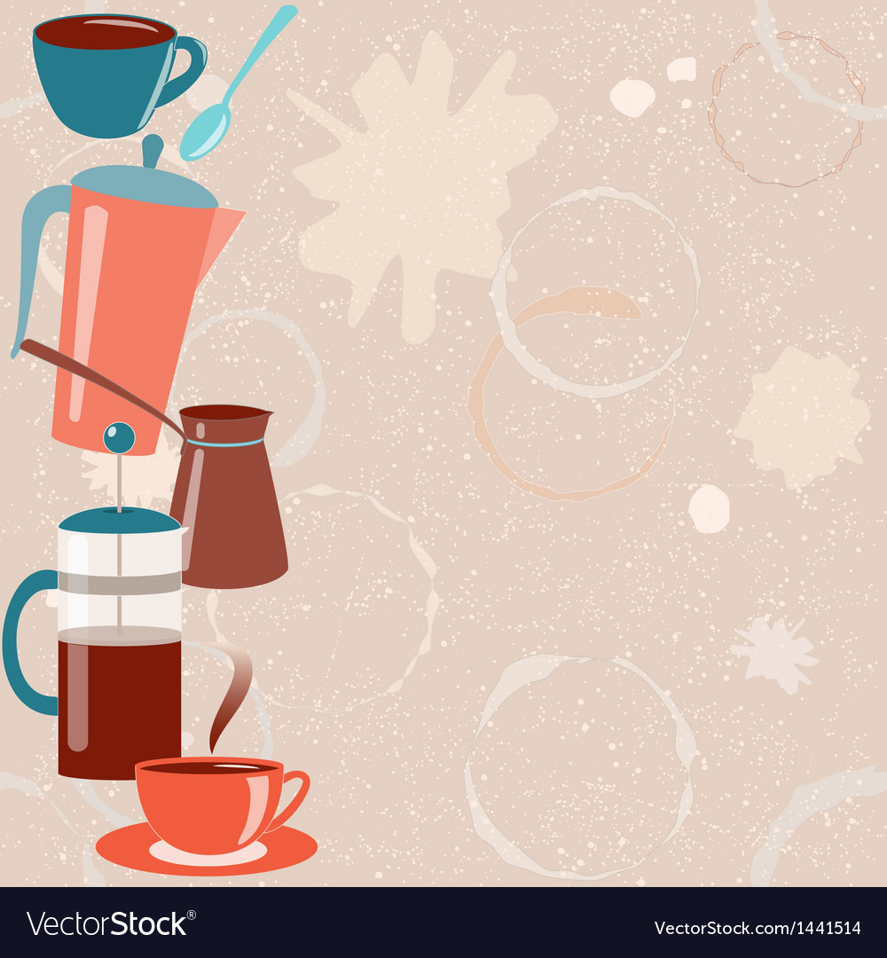 Card with coffee related elements vector   Price: 1 Credit (USD $1)