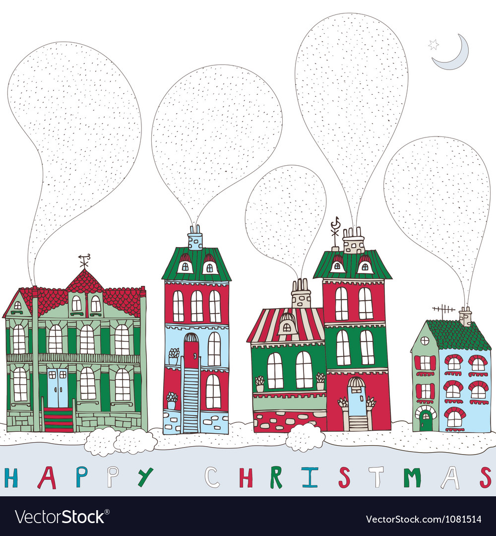 Christmas township card vector | Price: 1 Credit (USD $1)