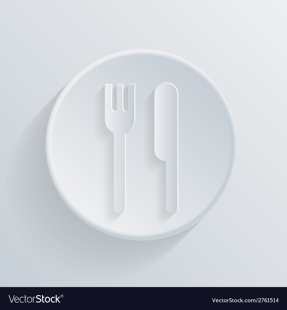 Circle icon with a shadow fork and knife vector | Price: 1 Credit (USD $1)