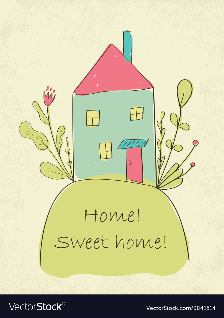 Home sweet home card vector | Price: 1 Credit (USD $1)