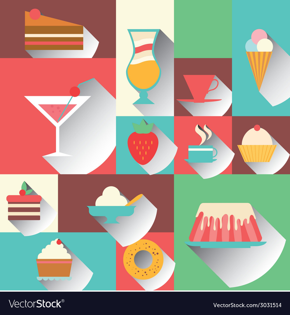 Icons sweet dessert vector | Price: 1 Credit (USD $1)