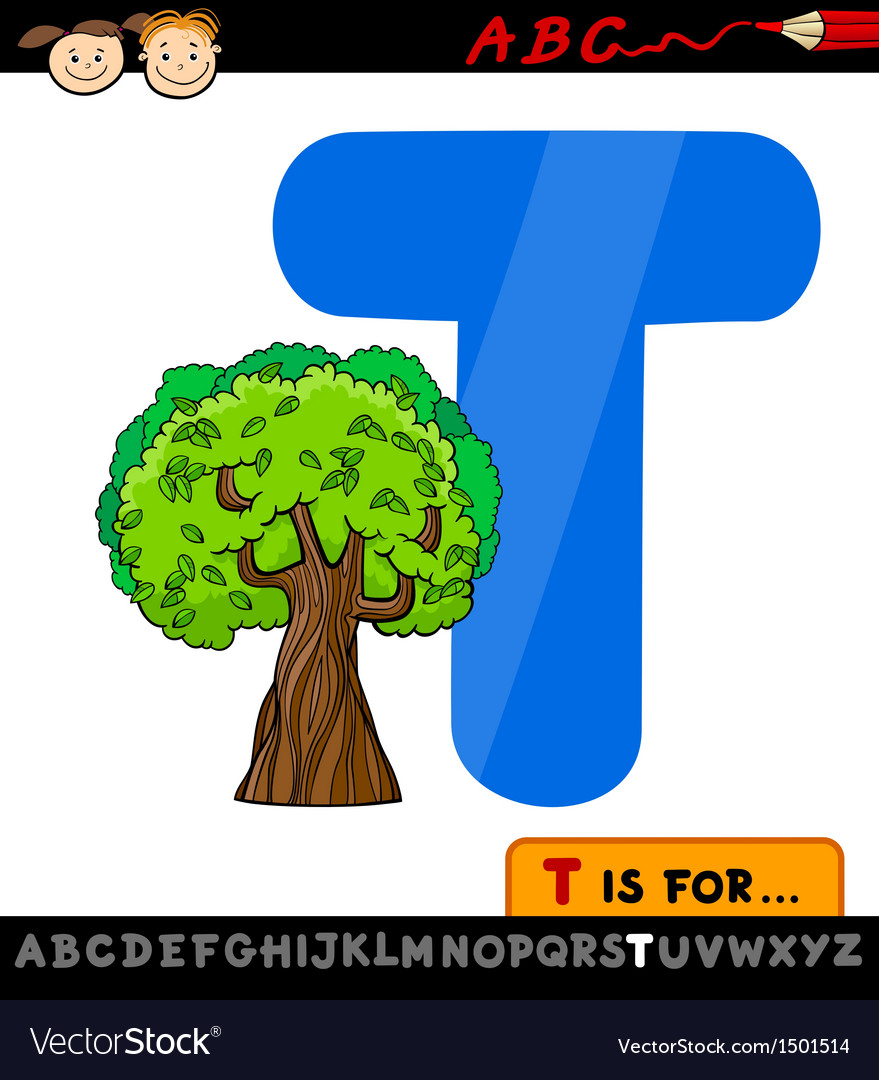 Letter t with tree cartoon vector | Price: 1 Credit (USD $1)