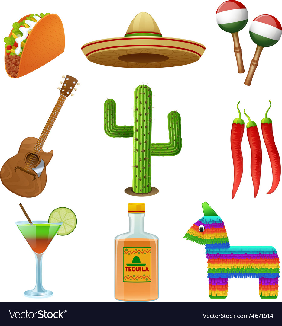 Mexican icons set flat vector | Price: 1 Credit (USD $1)