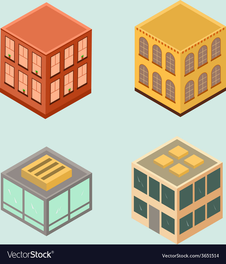 Set of 4 isometric houses in flat style vector | Price: 1 Credit (USD $1)