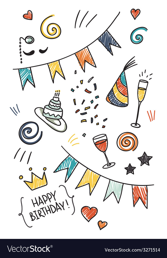 Set of hand drawn doodles birthday theme vector | Price: 1 Credit (USD $1)