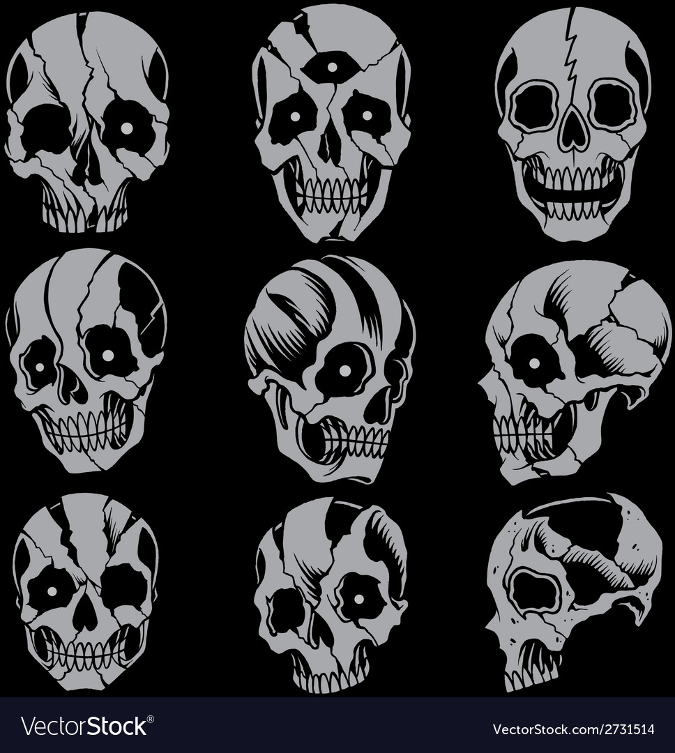 Skulls old school style set 01 vector | Price: 1 Credit (USD $1)