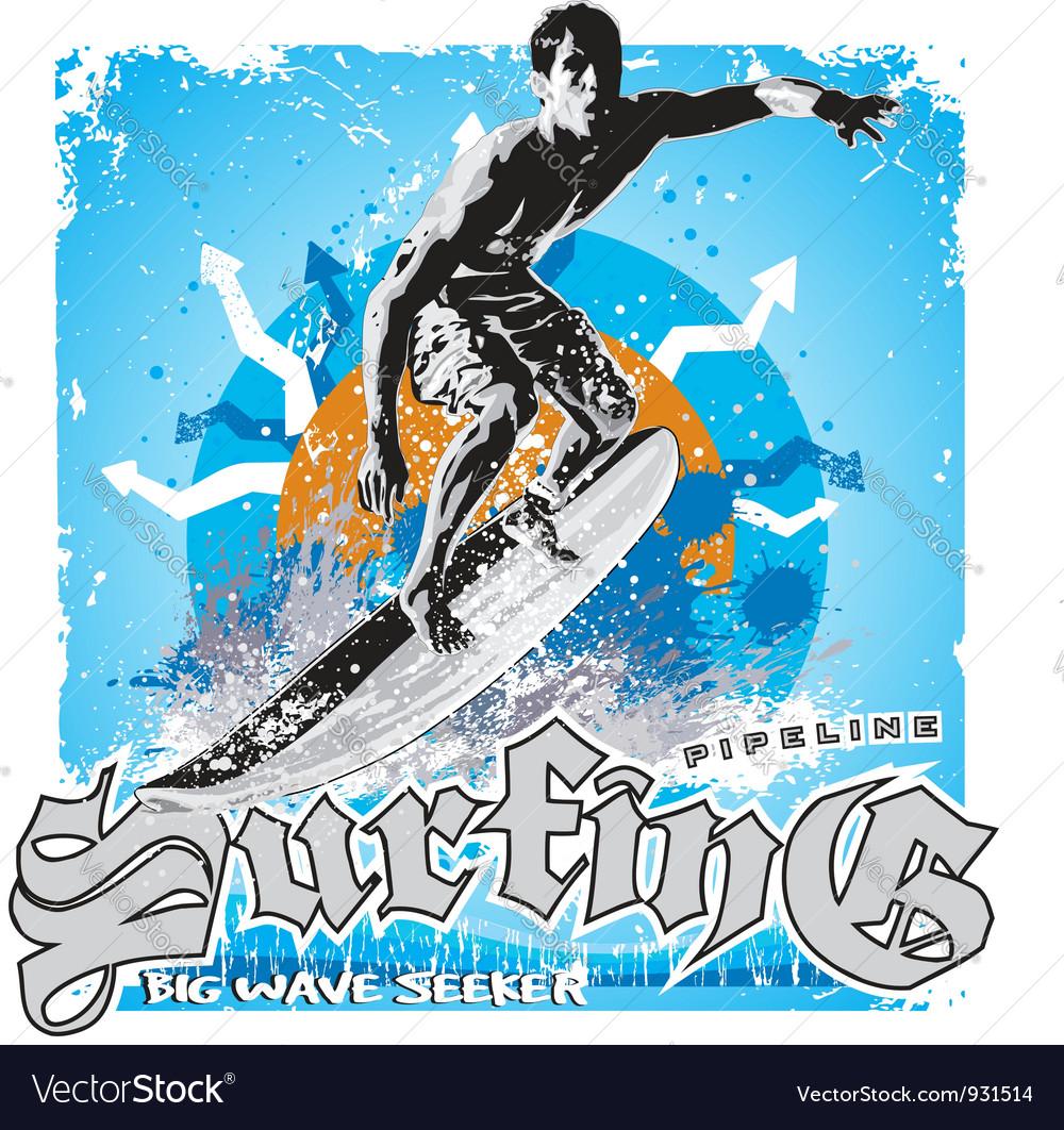 Surfing big wave vector   Price: 1 Credit (USD $1)