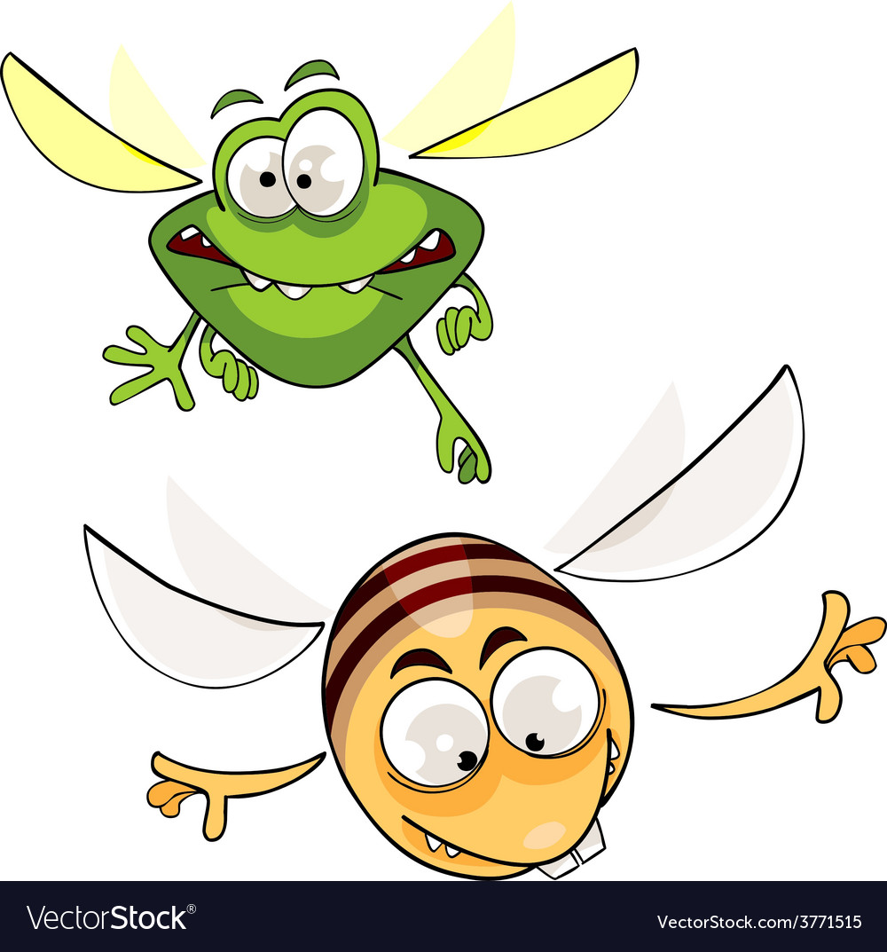 Cartoon bee and insects fly vector | Price: 1 Credit (USD $1)