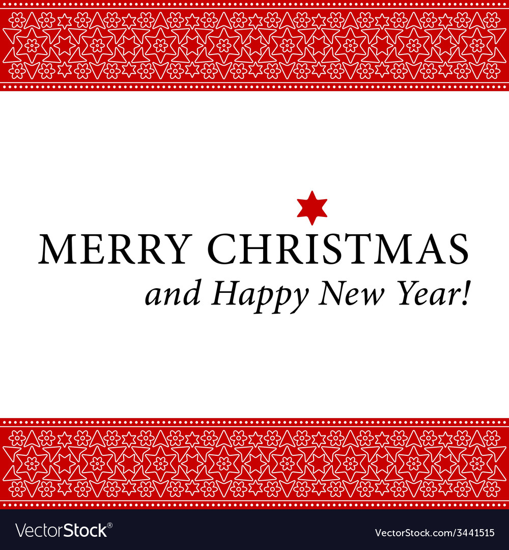 Christmas and new year card with white ornament vector | Price: 1 Credit (USD $1)