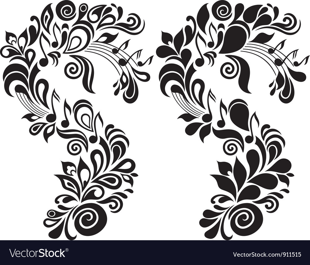 Decorative musical floral theme vector | Price: 1 Credit (USD $1)