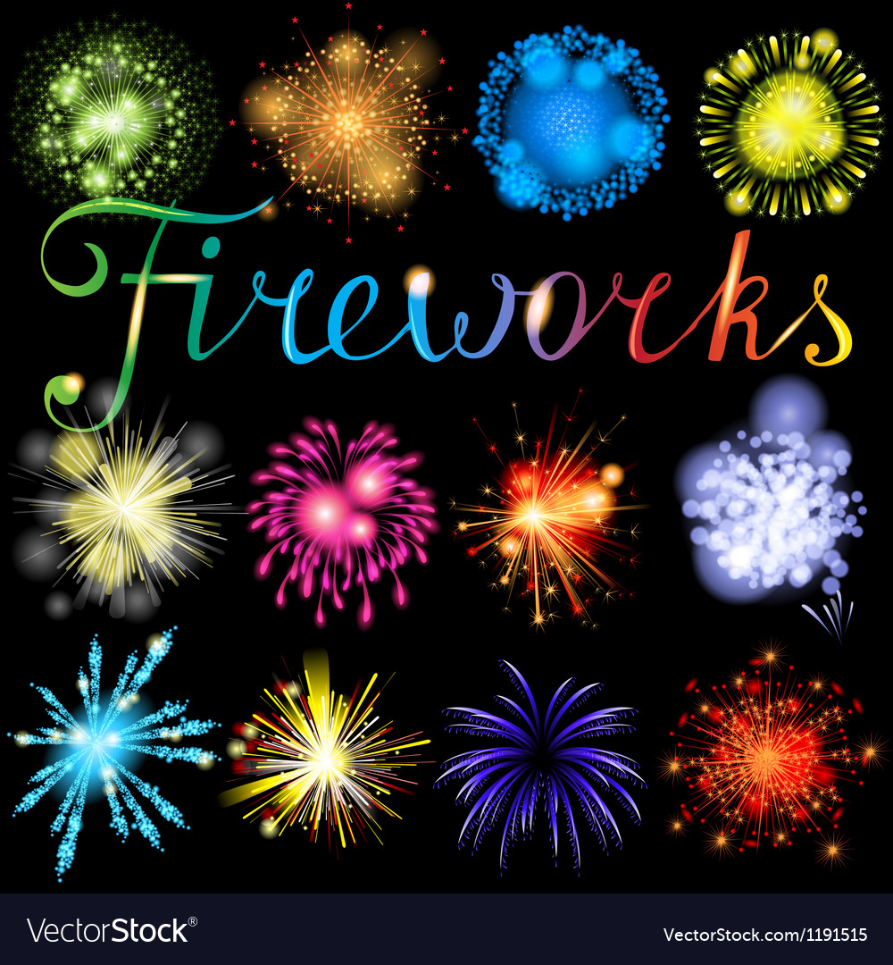 Fireworks set vector | Price: 1 Credit (USD $1)