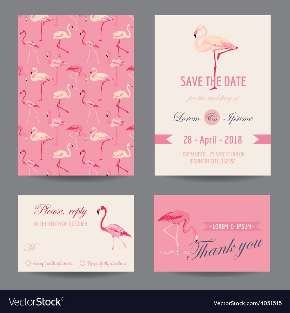 Invitation-congratulation card set - flamingo vector | Price: 1 Credit (USD $1)