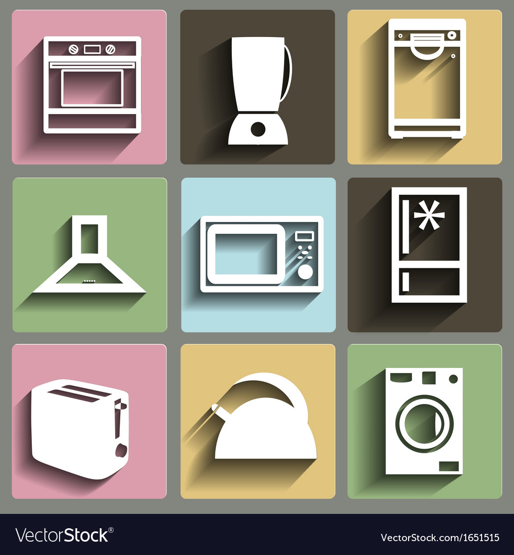 Kitchen and house appliances icons set vector | Price: 1 Credit (USD $1)