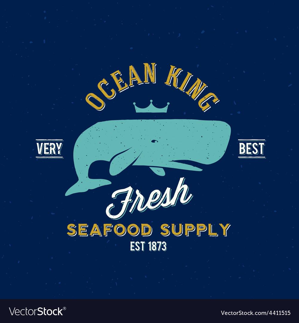 Ocean king seafood supplyer retro label or vector | Price: 1 Credit (USD $1)