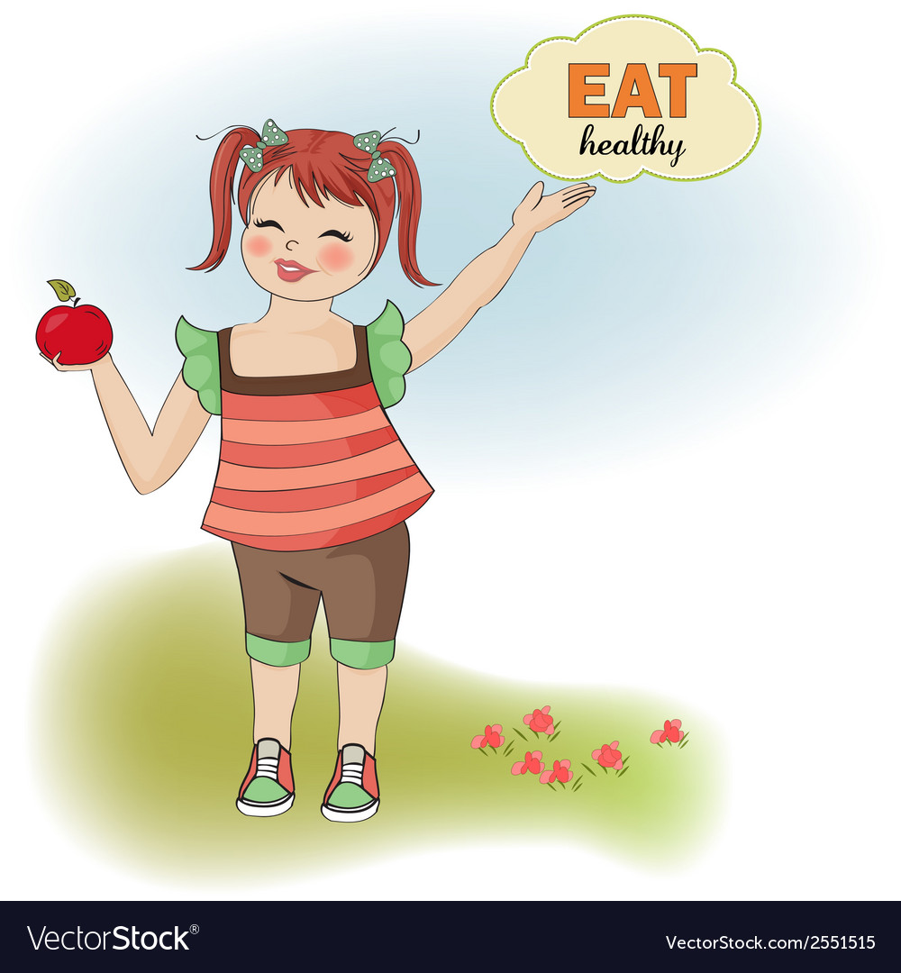 Pretty young girl recommends healthy food vector   Price: 1 Credit (USD $1)