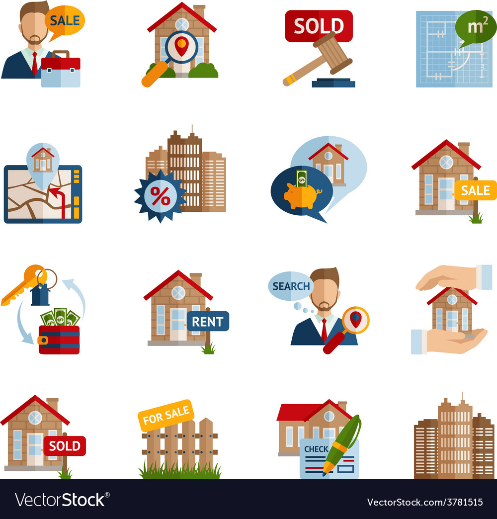 Real estate icons set vector   Price: 1 Credit (USD $1)