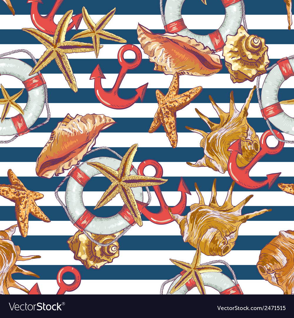 Summer seamless pattern with sea shells anchor vector | Price: 1 Credit (USD $1)