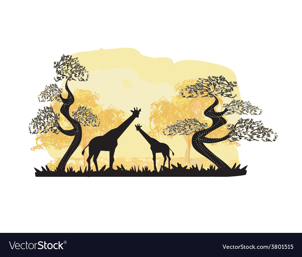 Two giraffes silhouette with jungle landscape vector | Price: 1 Credit (USD $1)