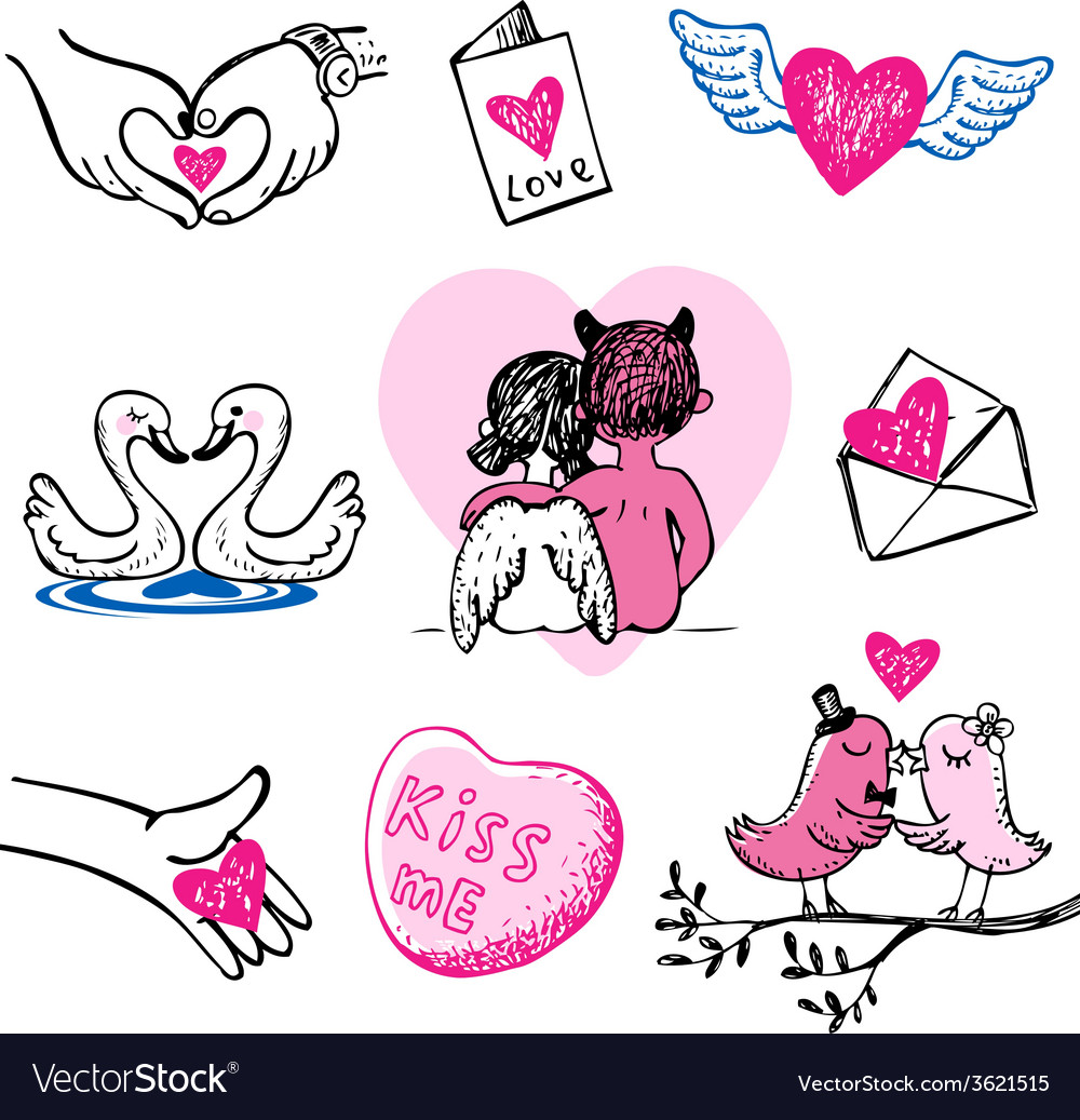 Valentines doodles vector | Price: 1 Credit (USD $1)